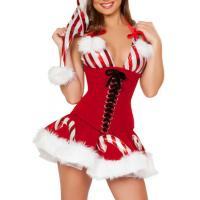 Buy cheap White Red Adult Christmas Costumes Candy Cane Cutie Costume for Girl from wholesalers