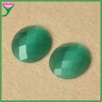 Buy cheap HS-45 Green oval flat back checkboard diamond briolette synthetic cats eye gemstone from wholesalers
