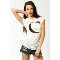 Buy cheap White Letter Print Knitted O Neck Ladies Tee Shirts With Short Sleeve from wholesalers