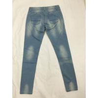 Buy cheap Medium Wash Shredded High Waisted Printed Denim Jeans , Womens Bootcut Jeans from wholesalers