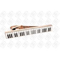 Buy cheap Mens Fashion Rose Gold Stainless Steel Tie Clip with Piano Keys Enamel from wholesalers