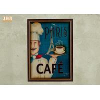 China Blue Wall Hanging Plaques Coffee House Wall Decor Antique Wooden Wall Art Signs on sale