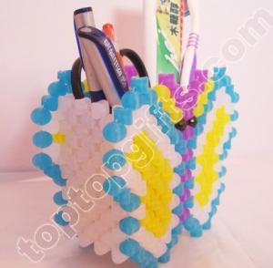 Buy cheap diy acrylic beaded butterfly brush pot plastic bead animal penholder product