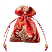 Buy cheap red satin drawstring bag with embroidery from wholesalers