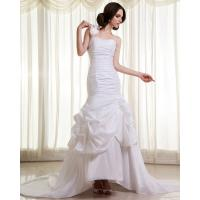 Buy cheap Womens Extra Long Train ruffled slim Wedding Dresses with Flower Shaped from wholesalers