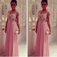 Buy cheap Open Back Chiffon Skirts Long Evening Party Dresses Elegant Gowns Saias from wholesalers
