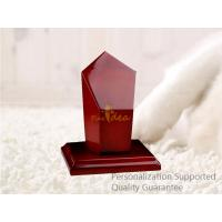 Buy cheap Luxury High Gloss Rich Cherry Blank Laser Engravable Wooden Award Trophy Plaque, Small Order, Good Quality product