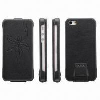 Buy cheap Fashionable Case for iPhone 5, with Embossed Flower, Made of Genuine Leather product