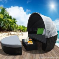 Buy cheap Waterproof New Wicker Outdoor Furnitures Day Bed Sun Lounge Setting Round Black Rattan Set product