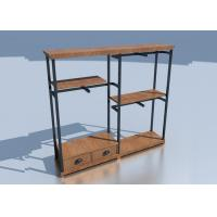 Buy cheap Wooden Adjustable Metal Rack Shelf / Store Clothing Racks Disassemble Structure from wholesalers