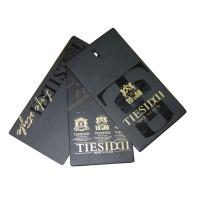 Buy cheap Men's Clothing Hang Tags 4.8cm x 9.2cm Chocolate Brown Gold Foil Round Corners from wholesalers