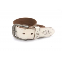 """Buy cheap White 1-1/2"""" Mens Casual Leather Belt With Logo Custom from wholesalers"""