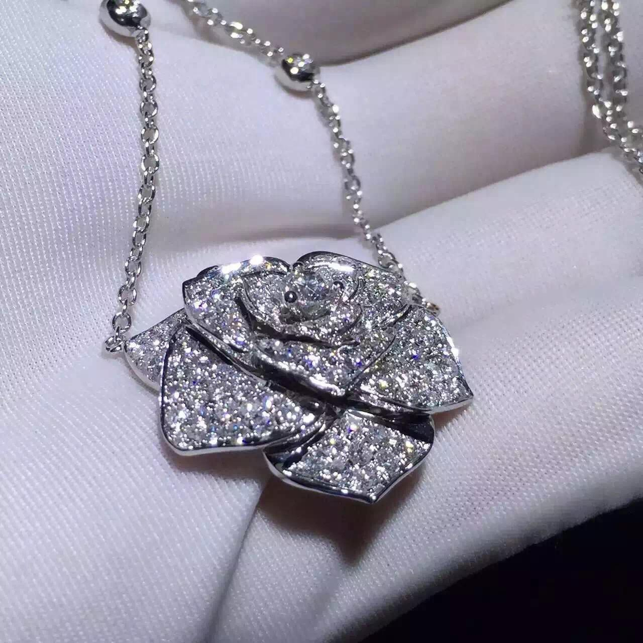 Buy cheap Piaget Rose Pendant With 18k Gold Chain , Women'S Piaget Diamond Necklace  product