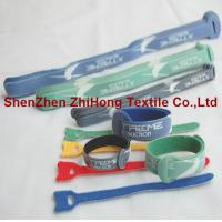 Buy cheap Logo printed ultra thin back to back self gripping hook and loop cord wrap product