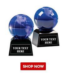 Quality globe awards crystal k9 optical glass dia80mm for sale