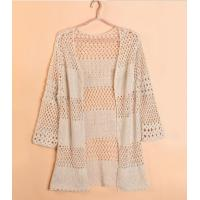 Buy cheap Lightweight pointelle long Ladies Cardigan Sweaters for summer , cotton cardigan sweaters from wholesalers