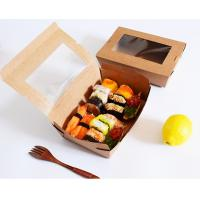 Buy cheap Sushi Compostable Food Safe Cardboard Boxes With Window Customized Logo from wholesalers