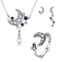 Genuine 925 Sterling Silver Jewelry Set 3 Piece Moon And Star Dazzling For Women