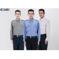 Buy cheap Polyester Cotton Male Security Officer Uniforms Blue Long Sleeve Shirt from wholesalers