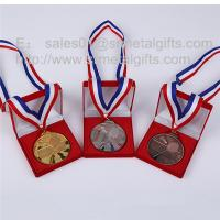Buy cheap Premium gift box packaged gold / silver sports medal with ribbon lanyards, from wholesalers
