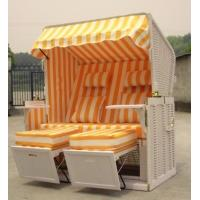 Buy cheap Roofed Wicker Beach Chair & Strandkorb With Orange 10cm Thickness Cushion from wholesalers