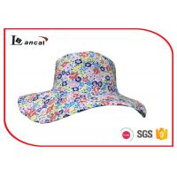 Buy cheap Floral printed bucket hat with blue and white stripe cotton reversible hat from wholesalers