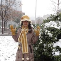 Buy cheap Winter Shearling Sheepskin Hats Gloves And Scarf Set Medium Length from wholesalers