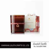Buy cheap Scented brown jar candle with ribbon on the bottle and folding box from wholesalers