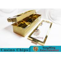 Buy cheap Macau Casino Double-Deluxe Gold Color 2 Layer Gambling Chips Tray Metal Poker Chips Carrier With 2 Security Lock from wholesalers