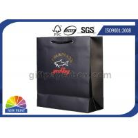 Buy cheap Gold Foil Logo Custom Paper Shopping Bags Matte Black paper bag from wholesalers