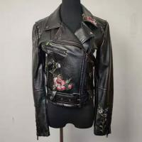 Buy cheap Women's Short Embroidered Faux Leather Jacket Slim Fit For Spring And Autumn from wholesalers