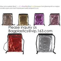 Buy cheap Fashion Bling Sublimation Magic Sequin Drawstring Backpack Bag,Glitter Mermaid from wholesalers
