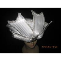 Buy cheap Polyester Satin Braid Ladies Church Hats White With Round Crown Diamond For Party from Wholesalers