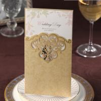 Buy cheap Golden Laser Cut Wedding Invitations 2015 Elegant Birthday Party Invitation Card Convite De Casamento from wholesalers