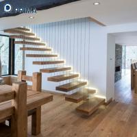 Buy cheap non-slip floating stairs with color painted oak wood treads and railings from wholesalers