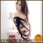 Buy cheap sexy lingerie black zip clubwear dress+g string 2pcs set Nightclothes costume underwear un from wholesalers