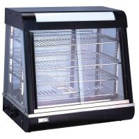 Black 4 Shelves Food Display Showcase / Tempered Glass Food Warmer Display Case