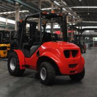 Buy cheap 4 Wheel Drive Stand Up Forklift , Narrow Aisle Forklift Rough Terrain Lift Truck from wholesalers