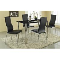 Buy cheap hot sell black tempered glass dining table and pu chair from wholesalers