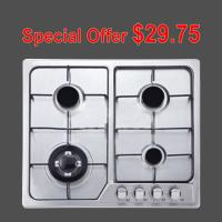 Buy cheap Brushed Stainless Steel 4 Burner Gas Hob , 4 Burner Cooktop Gas Range from wholesalers