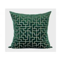 Buy cheap Forest Green Decorative Throw Pillows Geometric Embroidered 100% Velvet from wholesalers