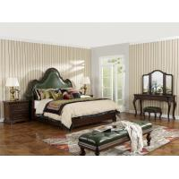 Buy cheap Solid Wood Bedroom set American style BT-2901 Real leather Upholstered headboard Classic king size bed with Nightstand from wholesalers