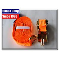 Buy cheap Orange Ratchet Tie Down Straps Cargo Lashing Belt With Buckle 25mm * 1T JD Hook from wholesalers