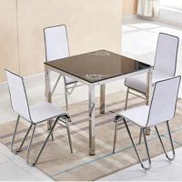 Buy cheap Stylish Glass Top Dining Room Table , Tempered Glass Top Dinette Sets square desktop dining table with stain steel leg from wholesalers