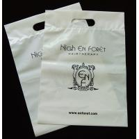 Buy cheap White poly logo printing  top fold over die cut handle tote bottom gusset bag product