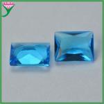 Buy cheap Wuzhou Wholesale Sapphire Blue Aquamarine Rectangle Crystal Glass Gemstone from wholesalers