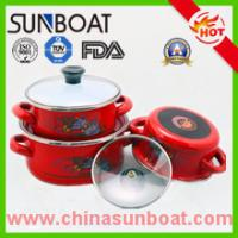 Buy cheap 3pcs set hot sale cast iron customized color flower decal enamel casserole product