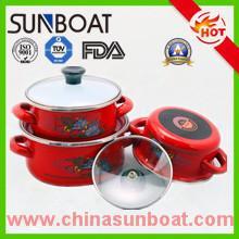 Buy cheap good quality cast iron green/red/blue enamel casserole 3pcs set product
