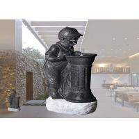 China Boy And Girl With LED Light Fountain Indoor And Outdoor Polyresin Material Garden Decoration  Water Fountain on sale