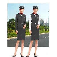 Buy cheap Black Flight Attendant Uniforms air stewardess uniform with coat and Vest from wholesalers